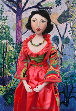 "Matisse muse Lydia set in "" Moroccan Landscape"" 1913, a painting by Henri Matisse. Art muse doll hand made by Marina Elphick."