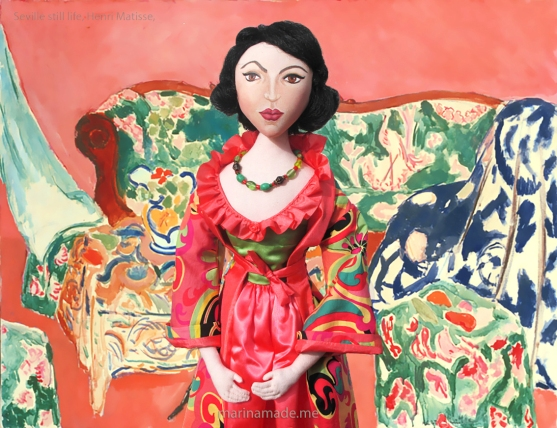 "Matisse muse, made by Marina Elphick, with ""The Joy of Life"", a painting by Henri Matisse."