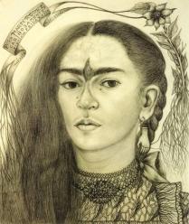Self portrait dedicated to Marte R Gomez 1946, pencil on paper, Frida Kahlo.