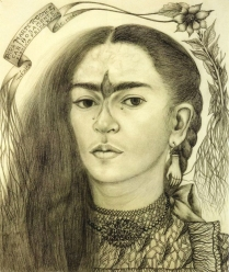 Self portrait dedicated to Marte R Gomez 1946, pencil on paper, Frida Kahlo.