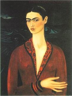 Self Portrait in a Velvet Dress Frida Kahlo.