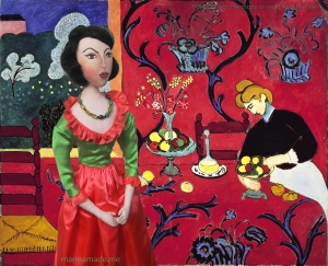 The Dessert: Harmony in Red, 1908 by Henri Matisse. My muse stands comfortably in this red room.