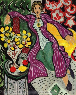 Woman in a Purple Coat, 1937, Henri Matisse. The figure's outfit inspired the coat for my Matisse muse.