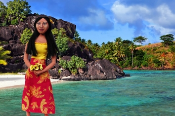 Teha'amana Gauguin's muse in Tahiti beach. Art Muse made by Marina Elphick.