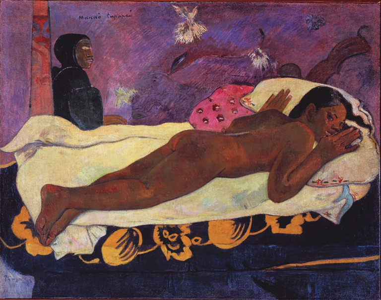 "The famous painting by Gauguin "" Manao Tupapau"", or 'Spirit of The Dead Watching'."
