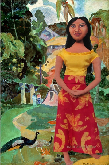 "Art muse by Marina, Teha'mana in Landscape with Peacocks or ""Matamoe"", by Paul Gauguin."