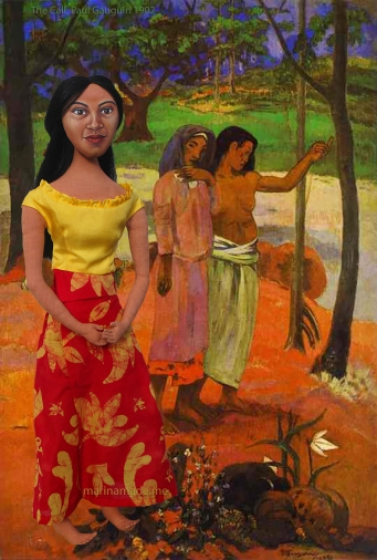 "Art Muse Teha'amana in front of the painting by Gauguin, ""The Call"". Marina's Muses"