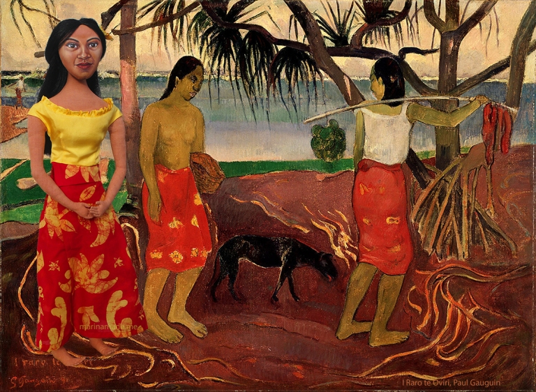 Teha'mana, Gauguin's muse in painting of fisherwomen.
