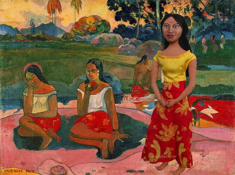 Marina's muse Teha'amana with other vahines in Gauguin's Nave Nave Moe.