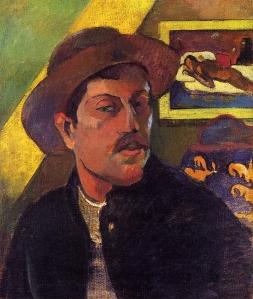 Self portrait in a hat 1893, Gauguin
