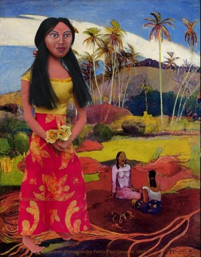 "Marina's muse Teha'amana in ""Tahitian Women under the Palms"", Paul Gauguin, 1892."