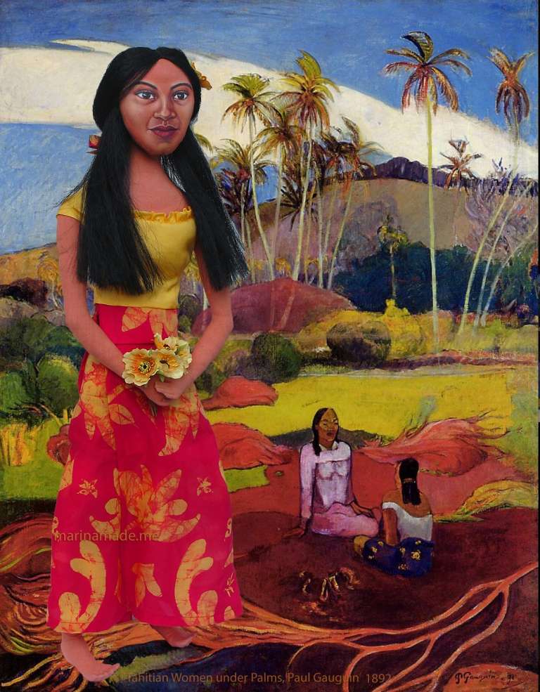 "Marina's muse Teha'amana in ""Tahitian Women under the Palms"", Paul Gauguin, 1892."