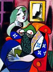 Femme avec Livre 1932, a portrait of Marie-Thérèse, by Picasso.