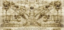 Vitruvian Man 1490, from a sketchbook by da Vinci.