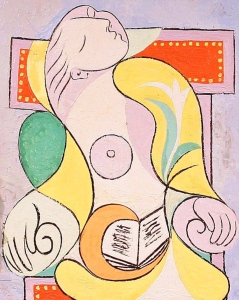 """La Lecture"" by Picasso, 1932, showing his lover and muse Marie-Thérèse asleep."