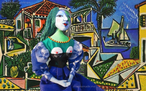 "Picasso's Marie-Thérèse muse made by Marina Elphick, set against a painting by Picasso, ""Mediterranean Landscape"". Art muses by Marina Elphick."