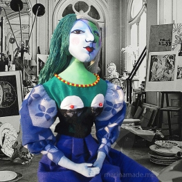 Marie-Thérèse muse in Picasso's studio. Art muses by Marina Elphick. Picasso's muse and lover, Marie-Thérèse.