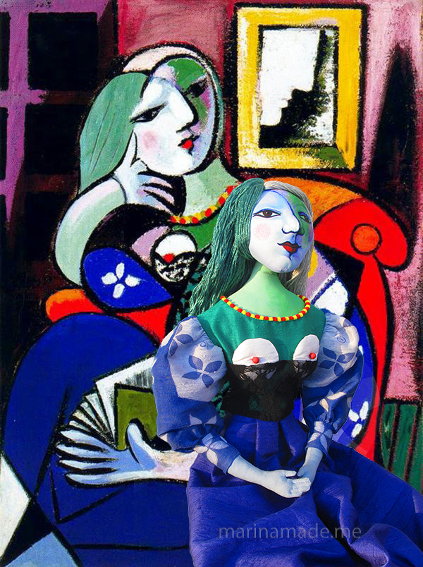 "Marie-Thérèse muse perched aside the painting that inspired her,""Femme avec Livre"" by Picasso. Art muses by Marina Elphick."