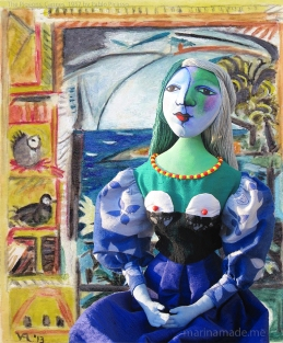 Marie-Thérèse muse with the Pigeons, Cannes. Picasso's muse and lover. Art muses by Marina Elphick.