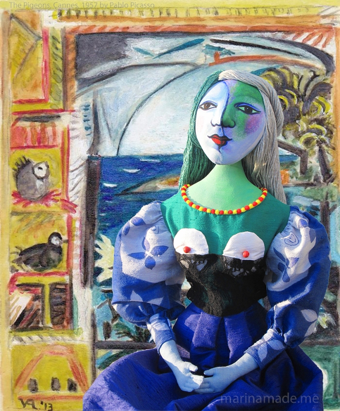 Marie-Thérèse muse with the Pigeons, Cannes. Art muses by Marina Elphick.