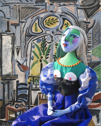 "Art Muse Marie-Thérèse, set ""a L'Atelier"" 1955, Picasso. Art muses by Marina Elphick. Picasso's muse and lover, Marie-Thérèse."