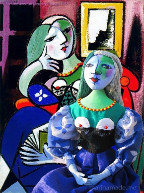 Marie-Thérèse muse, seated in Picasso's painting of her. Art muses by Marina Elphick. Picasso's muse and lover, Marie-Thérèse.