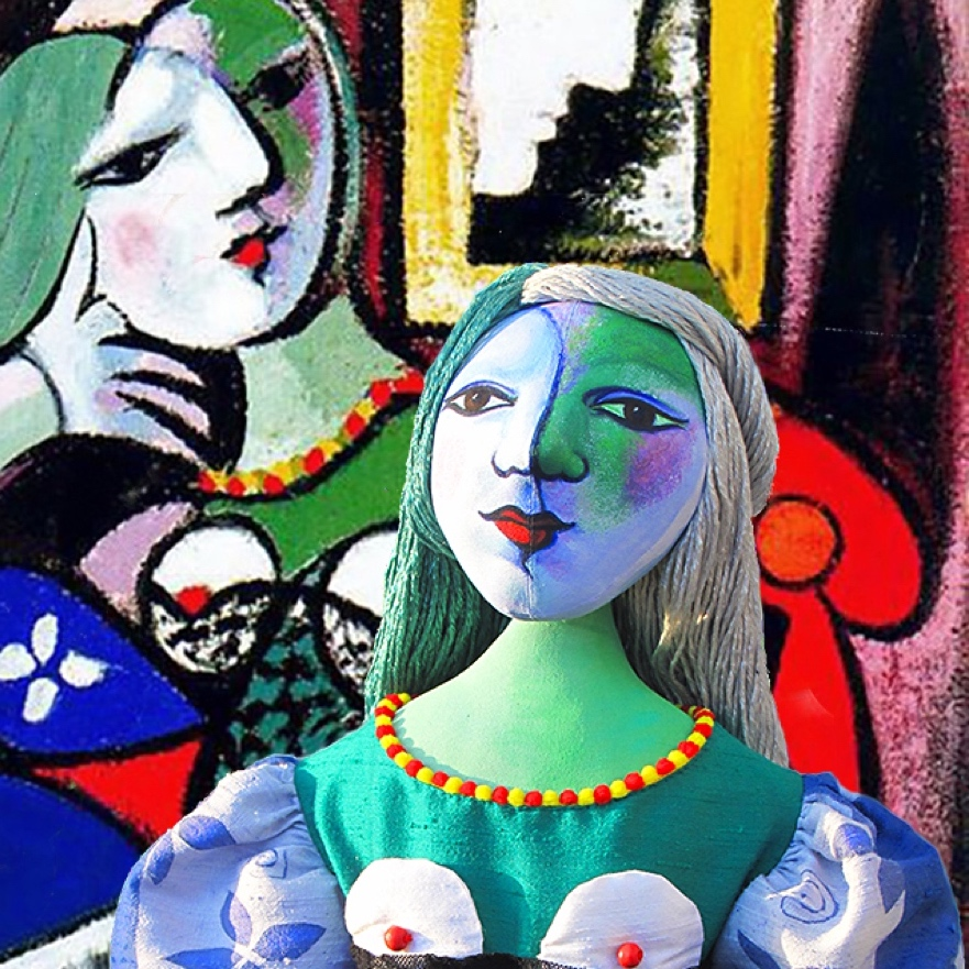 Marie-Thérèse , seated in front of Picasso's painting of her. Art Muses individually hand made by Marina Elphick. Picasso's muse and lover, Marie-Thérèse.