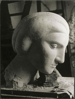Woman's Head (Marie-Thérèse) by Pablo Picasso.Photograph taken at Picasso's sculpture workshop in Boisgeloup.