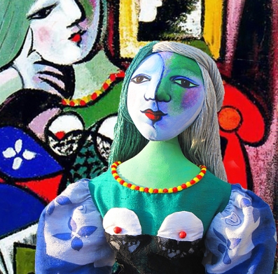 Marina's muse, Marie-Thérèse, with Picasso's painting of her. Art muses by Marina Elphick.