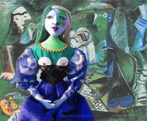 """My muse Marie-Thérèse, set against Picasso's """" Dejeuner sur l'herbe"""". Art muses by Marina Elphick. Picasso's muse and lover, Marie-Thérèse."""