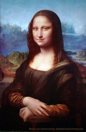 This image is an enhanced photo of Mona Lisa showing the colours as they would have been, when Leonardo first completed the painting. The blues were more blue and the reds richer. I used this version as reference for my Mona muse's clothing.