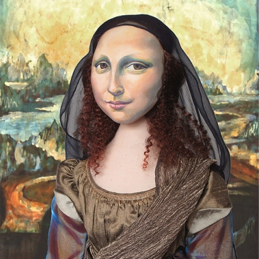 "Detail of Mona Lisa, La Joconde, with batik ""Leonardo style"" Italian landscape, by Marina Elphick. Mona Lisa muse sculpted in textiles by Marina Elphick."