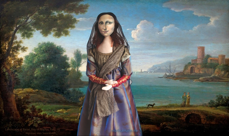"Mona Lisa muse in ""Landscape at Baiae, Bay of Naples, Italy"" by Herman van Swanevelt. Mona Lisa muse sculpted in textiles by Marina Elphick"