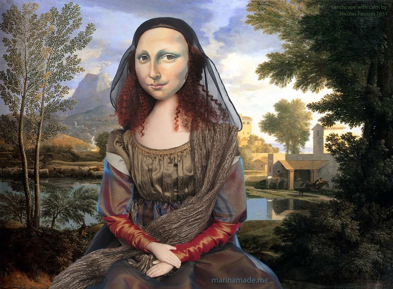 "Mona muse in ""Landscape With a Calm,"" by Nicolas Poussin, 1651. Mona Lisa muse sculpted in textiles by Marina Elphick."