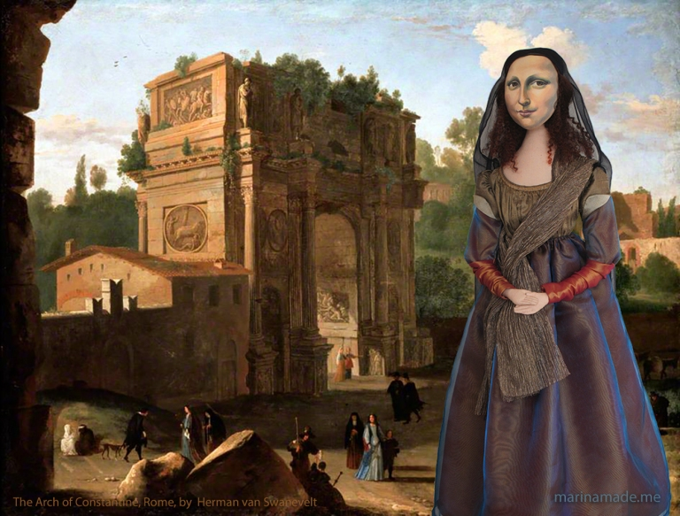 Mona Lisa muse at The Arch of Constantine, Rome, painted by by Herman van Swanevelt, 1600-1665. Mona Lisa muse sculpted in textiles by Marina Elphick.