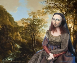 Mona Lisa muse resting in Italianate Landscape, by Jan Both. Mona Lisa muse sculpted in textiles by Marina Elphick.