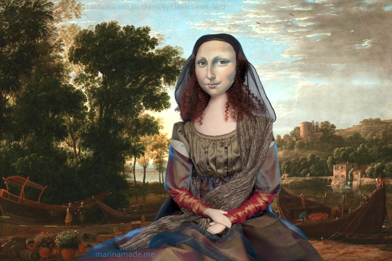 Mona Lisa muse in Claude Lorrain Landscape with Merchants. Mona Lisa muse sculpted in textiles by Marina Elphick.