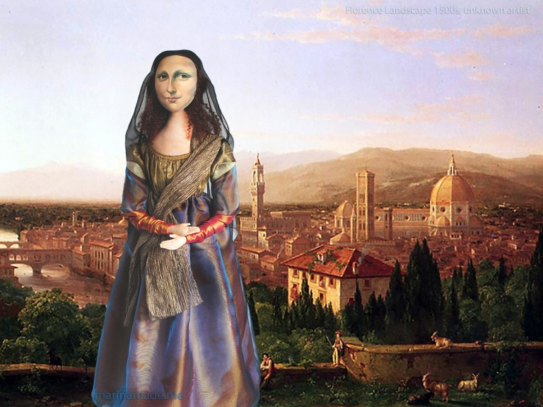 Mona Lisa muse overlooking Florence,in a painting by an unknown artist, 1500s. She is standing in a rural area outside the city which would 70 years later become the famous Boboli Gardens. Mona Lisa muse sculpted in textiles by Marina Elphick.