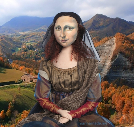 Mona Lisa muse in Montefeltro landscape. Mona Lisa muse sculpted in textiles by Marina Elphick.