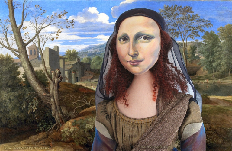 "Mona Lisa muse, by Marina Elphick, with a Nicolas Poussin painting, ""Ideal landscape"". Mona Lisa muse sculpted in textiles by Marina Elphick."