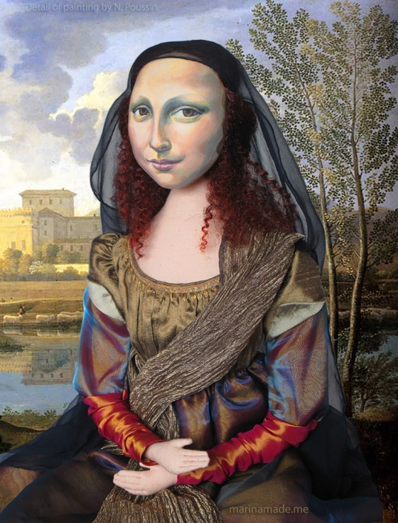 Mona Lisa muse, handmade soft sculpture, dressed in silk and rayon, with metallic thread embroidery. Made by Marina Elphick.