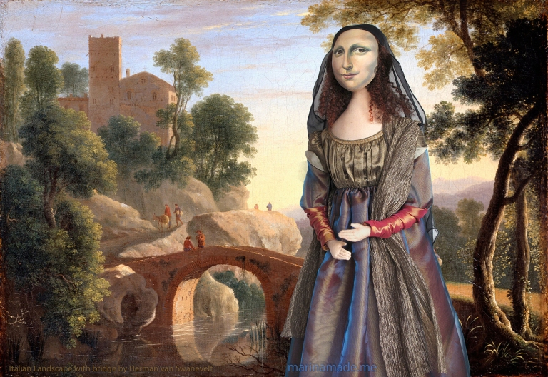 Mona Lisa Muse promenading in Italian Landscape with bridge, a painting by Herman van Swanevelt. Mona Lisa muse sculpted in textiles by Marina Elphick.