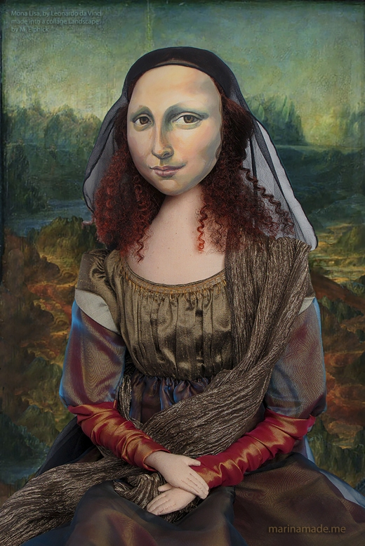 Mona Lisa muse with a collage of Leonardo da Vinci's painting. Mona Lisa muse, handmade soft sculpture, dressed in silk and rayon, with metallic thread embroidery, made by Marina Elphick.
