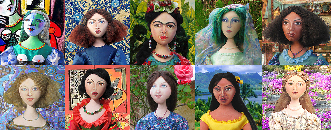 All Ten of Marina's Muses, From top left: Marie Therese, Jane Morris, Frida Kahlo, Bella Chagall, Fanny Eaton, Emilie Floge, Lydia Delectorskaya, Effie Gray, Teha'amana and Simonetta Vespucci.