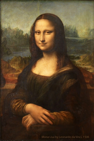 The original Mona Lisa portrait by Leonardo da Vinci, painted between 1503-06 on poplar wood panel.