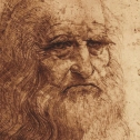 Self portrait in pen and ink by Leonardo da Vinci 1514.