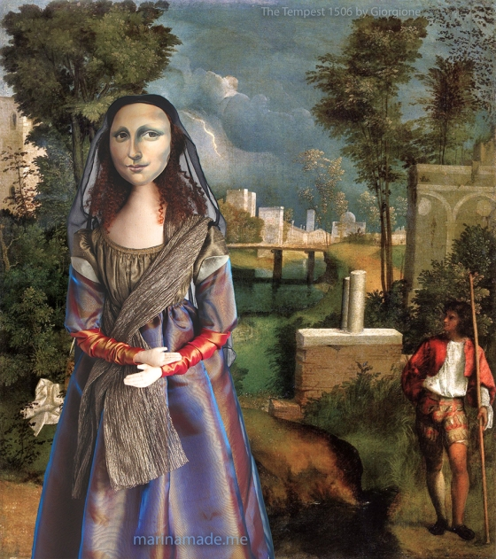 "La Gioconda, La Joconde, Lisa Gherardini, or as we all know her, Mona Lisa. Mona Lisa muse set against a painting by Italian master Giorgione,"" The Tempest"" 1506. Mona Lisa muse sculpted in textiles by Marina Elphick."