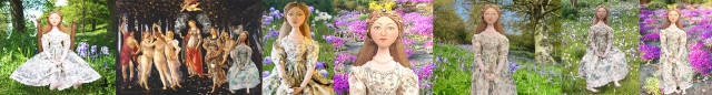 """Botticelli's """"Primavera"""" is re-interpreted in a soft sculpted muse by Marina Elphick. Unique handmade Art muses, original art works by Marina Elphick."""