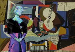 "My muse of Dora Maar in front of Picasso's painting, ""Mandelin et Guitare"". Dora Maar muse, designed and sculpted in textiles by artist, Marina Elphick.Dora Maar, muse and lover of Picasso."