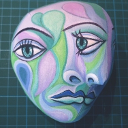 Detail of Dora's painted head inspired by Picasso. Dora Maar muse, designed and sculpted in textiles by artist, Marina Elphick.